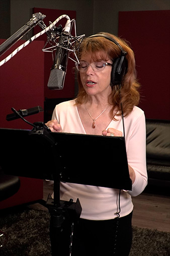 Lesley recording a voiceover